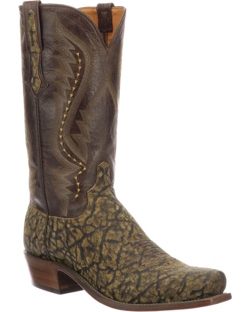 Lucchese Men's Handmade Creighton Brown Elephant Cowboy Boots - Square Toe, Brown, hi-res