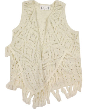 Shyanne Girls' Fringe Sweater Vest , Natural, hi-res