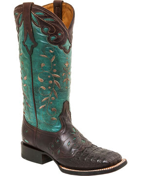 Lucchese Sherilyn Caiman Cowgirl Boots - Square Toe, Brown, hi-res