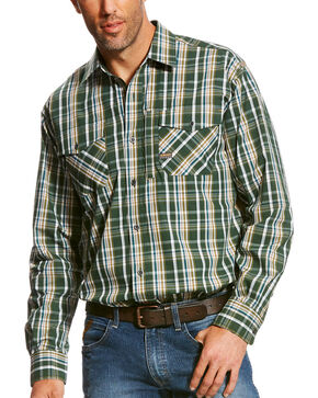 Ariat Men's Rebar Liam Plaid Long Sleeve Work Shirt , Green, hi-res