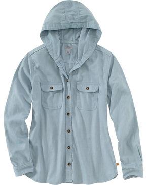 Carhartt Women's Light Blue Belton Flannel Work Shirt , Light Blue, hi-res
