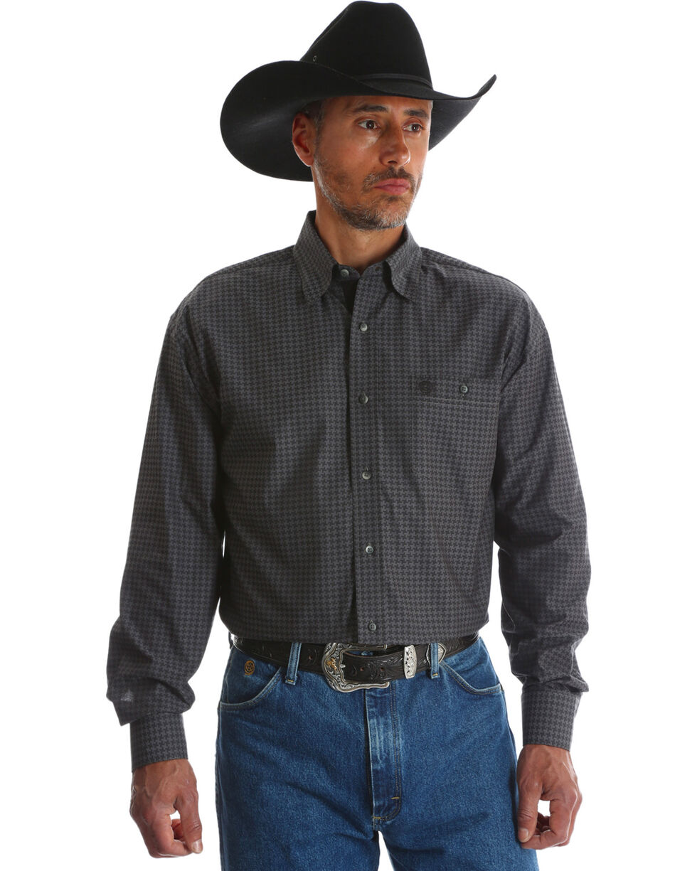Wrangler George Strait Men's Grey Print Troubadour Long Sleeve Shirt , Grey, hi-res