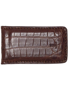 Lucchese Men's Sienna Crocodile Magnetic Money Clip , Brown, hi-res