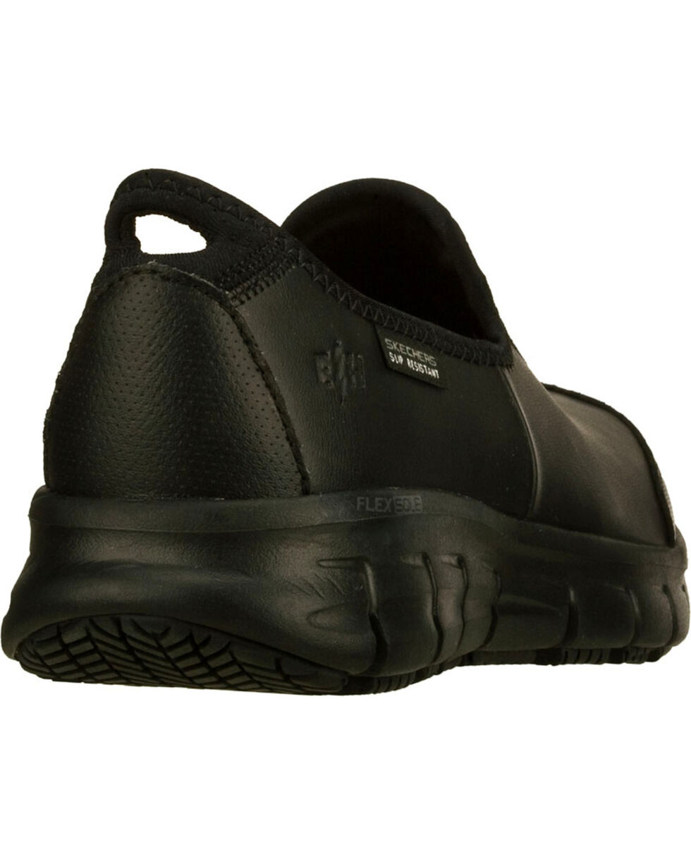 Skechers Women's Black Sure Track Slip Resistant Slip-On Work Shoes , Black, hi-res