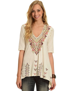 Johnny Was Women's Cream Aspen V-Neck Trapeze Tee , Cream, hi-res