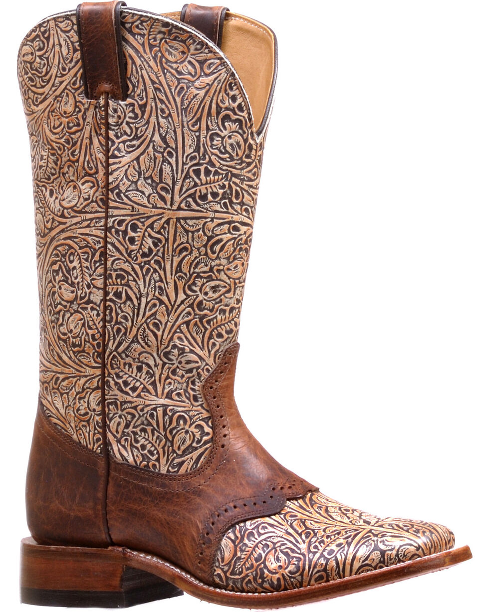 Boulet Women's Western Tooled Saddle Vamp Cowgirl Boots - Square Toe, Natural, hi-res