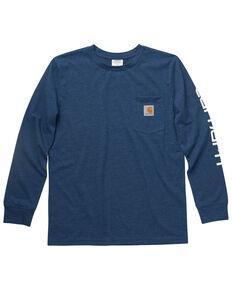 Carhartt Boys' Crewneck Pocket Long Sleeve T-Shirt , Navy, hi-res