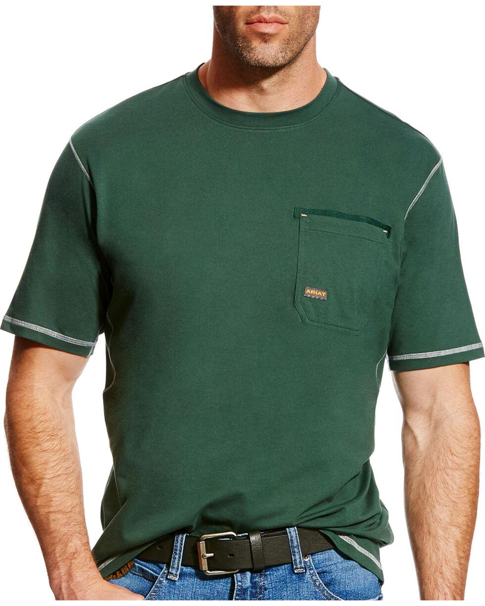 Ariat Men's Rebar Crew Short Sleeve Shirt - Big & Tall, Dark Green, hi-res