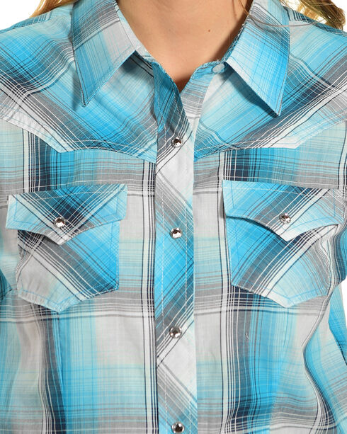 Ely Cattleman Women's Jade Plaid Western Shirt , Green, hi-res
