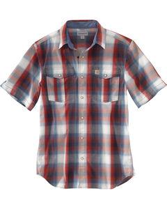 Carhartt Men's Red Bozeman Short-Sleeve Shirt, , hi-res