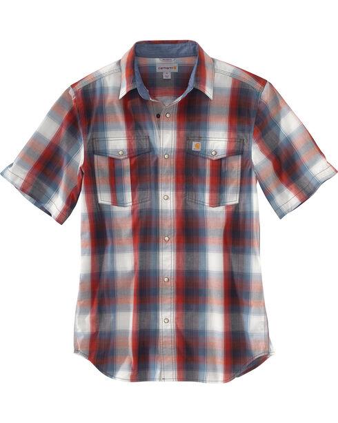 Carhartt Men's Red Bozeman Short-Sleeve Shirt, Red, hi-res