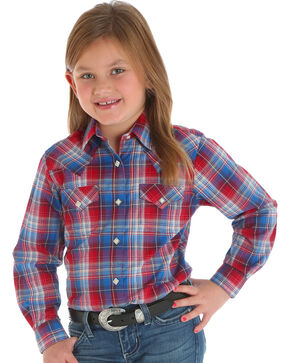Wrangler Girl's Red Plaid Western Snap Down Shirt , Red, hi-res