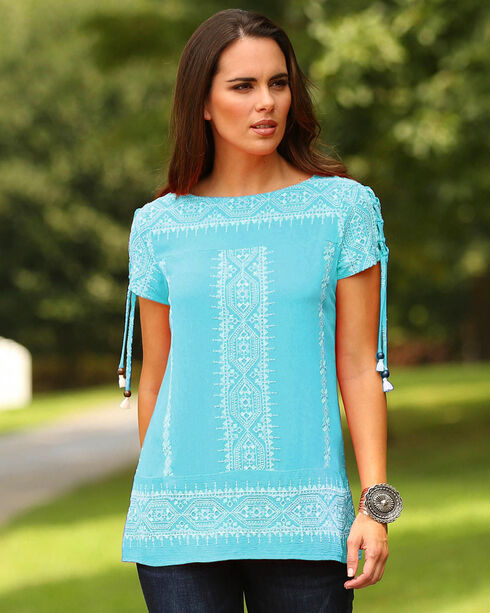Wrangler Women's Teal Embroidered Short Sleeve Top, Green, hi-res