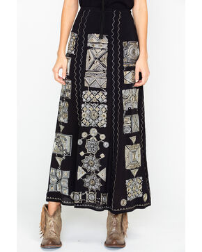 Tasha Polizzi Rajah Intricate Embroidered Maxi Skirt , Black, hi-res