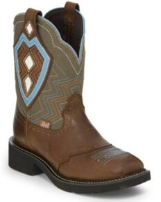 Justin Women's Chocolate Puma Western Boots - Wide Square Toe, Brown, hi-res