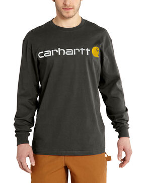 Carhartt Signature Logo Sleeve Knit T-Shirt, Bark, hi-res