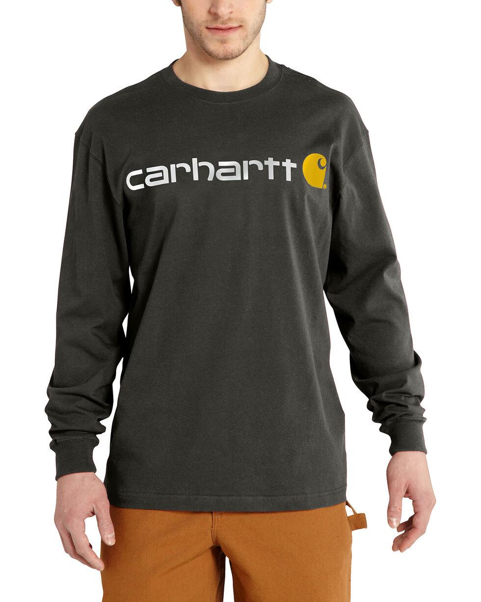 Carhartt Signature Logo Sleeve Knit T-Shirt - Big & Tall, Bark, hi-res