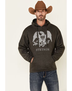 Stetson Men's Grey 1865 Eagle Logo Graphic Hooded Sweatshirt , Grey, hi-res