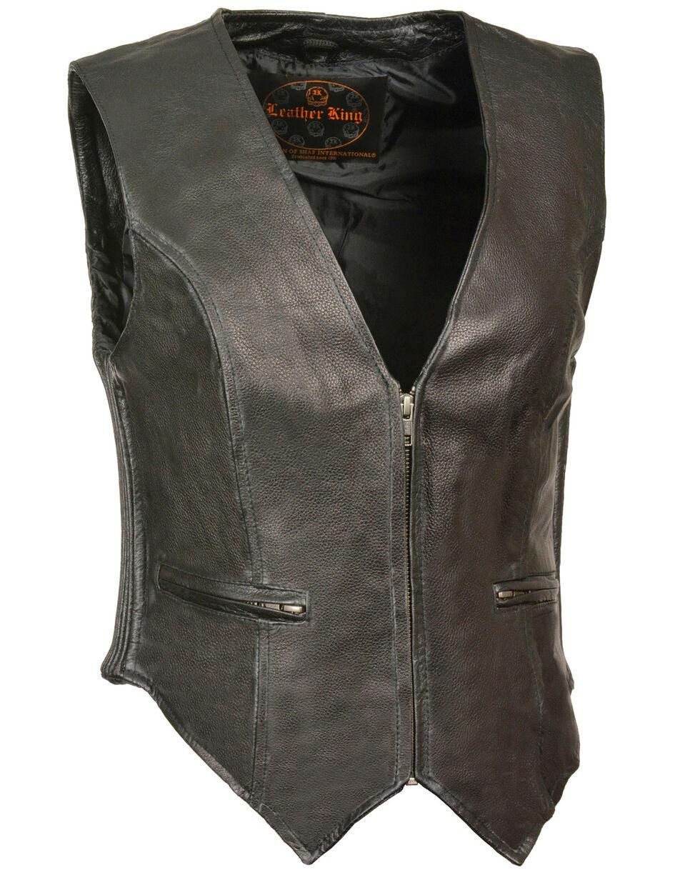 Milwaukee Leather Women's Zipper Front Side Stretch Vest - 4X, Black, hi-res
