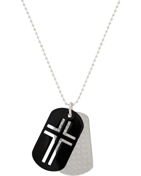 Montana Silversmiths Men's Stainless Steel Cross Token Necklace, Silver, hi-res
