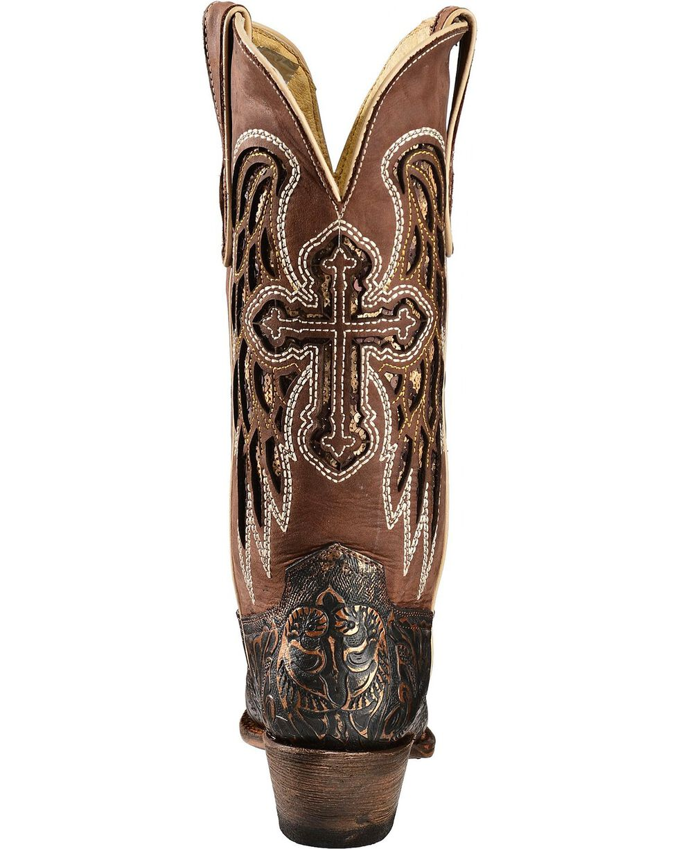 Ferrini Embossed Angel Cross & Wing Inlay Cowgirl Boots - Snip Toe, Gold, hi-res
