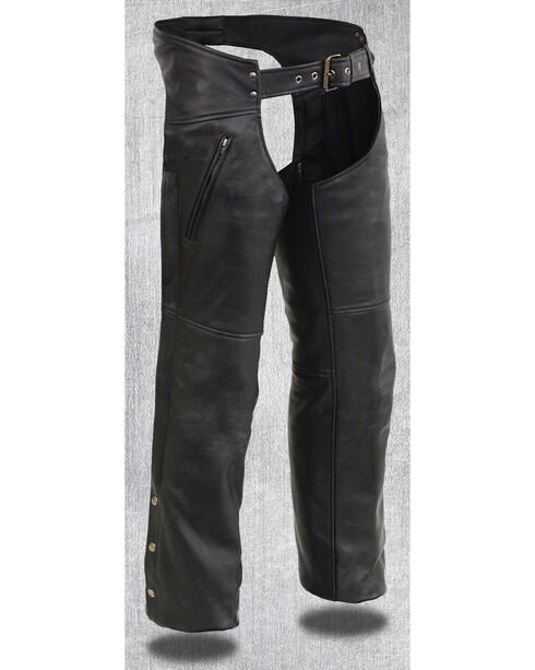 Milwaukee Leather Men's Heated Zipper Side Pocket Chaps - 5X, Black, hi-res