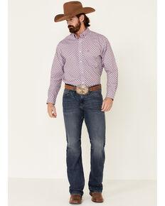 Ariat Men's White Barneys Geo Print Long Sleeve Western Shirt , White, hi-res