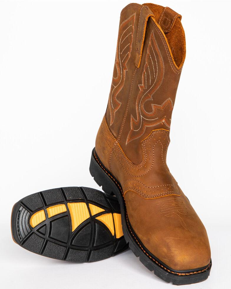 Cody James Men's Western Work Boots - Steel Toe, Brown, hi-res