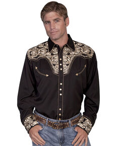 Scully Men's Grey Floral Embroidered Long Sleeve Western Shirt, Gold, hi-res