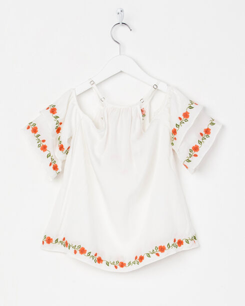 Miss Me Floral Embroidered Cold Shoulder Top, White, hi-res
