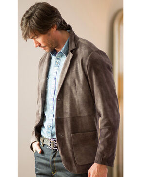 Ryan Michael Men's Grey Suede Leather Blazer , Grey, hi-res