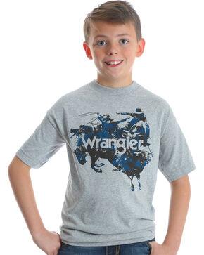Wrangler Boys' Grey Bull Rider Graphic Tee , Grey, hi-res