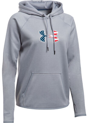 Under Armour Women's Grey Big Flag Logo Tactical Hoodie, Grey, hi-res