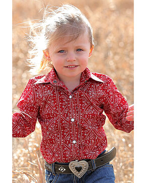 Cruel Girl Infant Girls' Red Bandanna Print Western Shirt , Red, hi-res