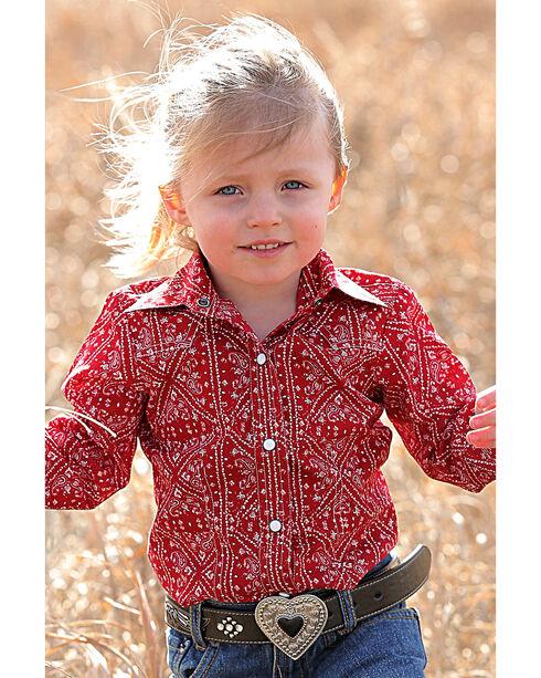 Cruel Girl Infant/Toddler Girls' Red Bandanna Print Western Shirt , Red, hi-res