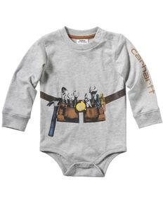 Carhartt Infant Boys' Photoreal Tool Belt Graphic Long Sleeve Body Shirt , Heather Grey, hi-res