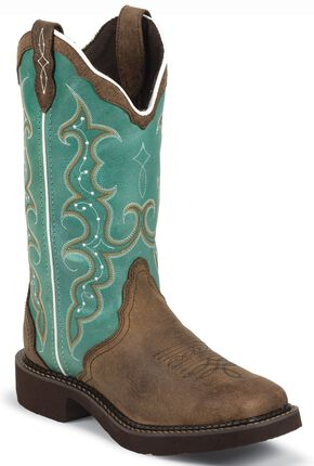 Justin Gypsy Turquoise Cowgirl Boots - Square Toe, Aged Bark, hi-res