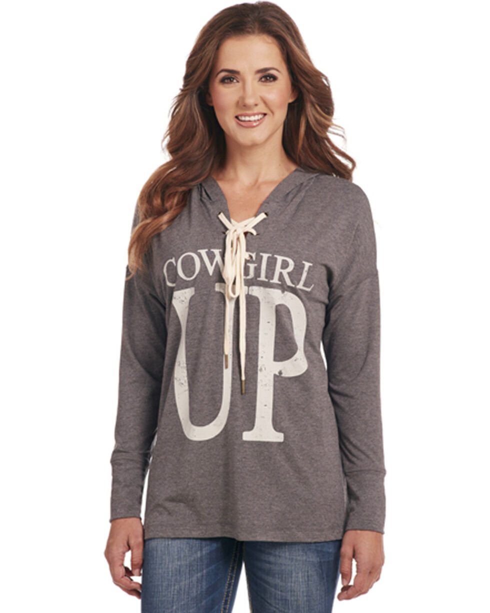 Cowgirl Up Women's Lace Up Hoodie, Grey, hi-res