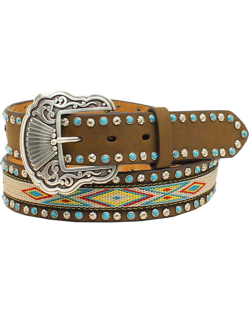 "Nocona Women's 1 1/2"" Ribbon Inlay Turquoise Stone Belt, Med Brown, hi-res"