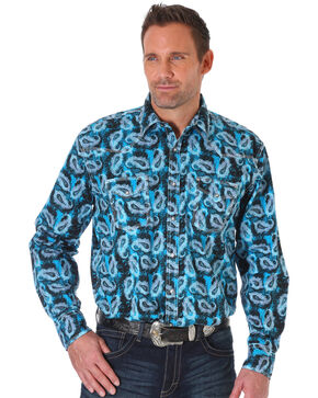 Wrangler Men's Blue Paisley Print 20X Competition Advanced Comfort Shirt , Blue, hi-res