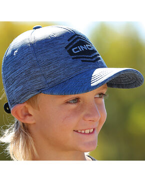 Cinch Boys' Space Dyed Logo Snap Back Baseball Cap, Blue, hi-res