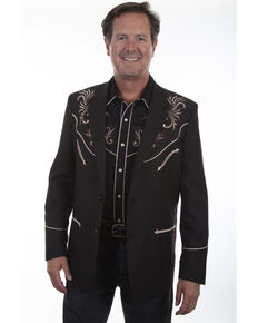Scully Men's Embroidered Sport Coat, Black, hi-res