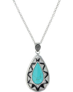Montana Silversmiths Women's Silver Southern Chevron Teardrop Necklace , Silver, hi-res
