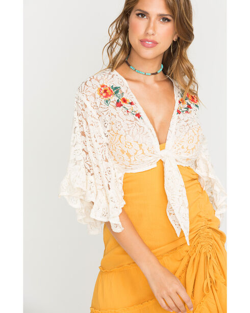 Flying Tomato Women's Ivory Embroidered Lace Cardigan , Ivory, hi-res