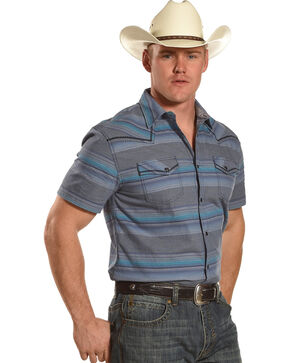 Moonshine Spirit Men's Baja Striped Short Sleeve Shirt , Turquoise, hi-res