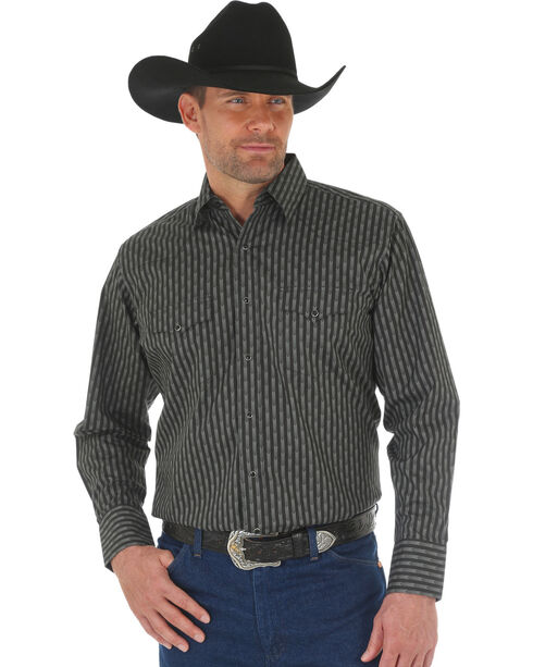 Wrangler Men's Black Silver Edition Long Sleeve Shirt , Black, hi-res