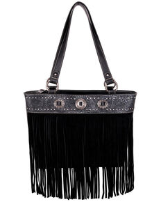 Montana West Women's Black Fringe Tote Bag, Black, hi-res