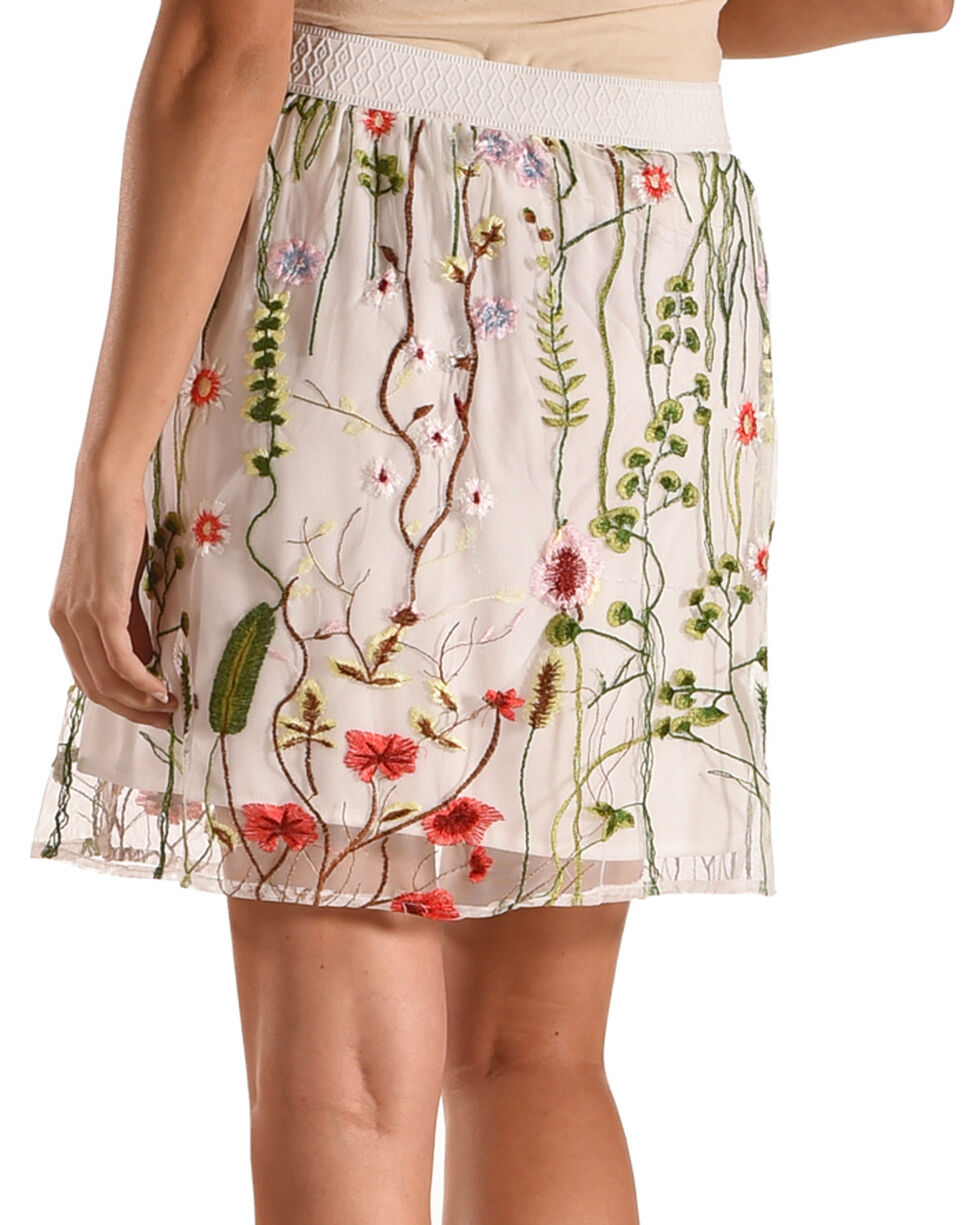 New Direction Sport Women's Cream Sheer Embellished Skirt , Natural, hi-res