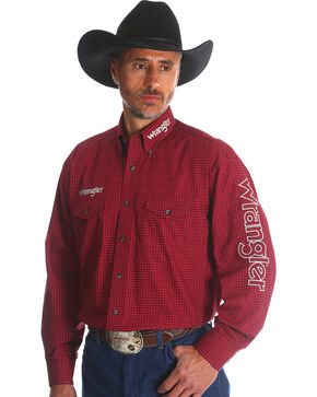 Wrangler Men's Red Western Logo Long Sleeve Shirt , Red, hi-res