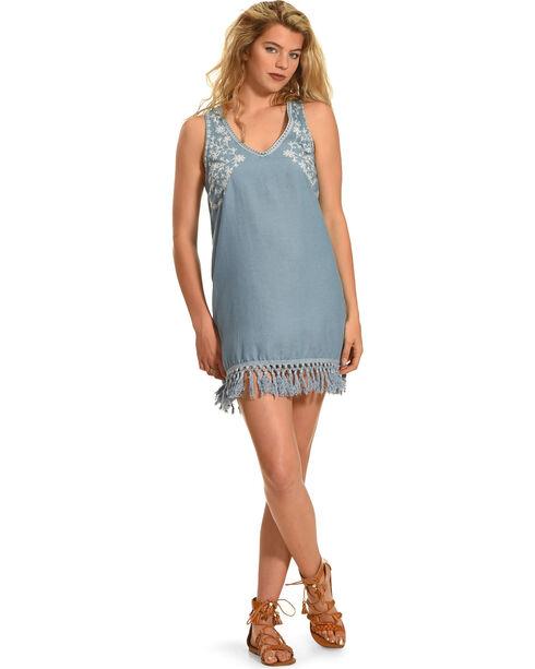 Polagram Women's Tassel Hem Dress , Indigo, hi-res